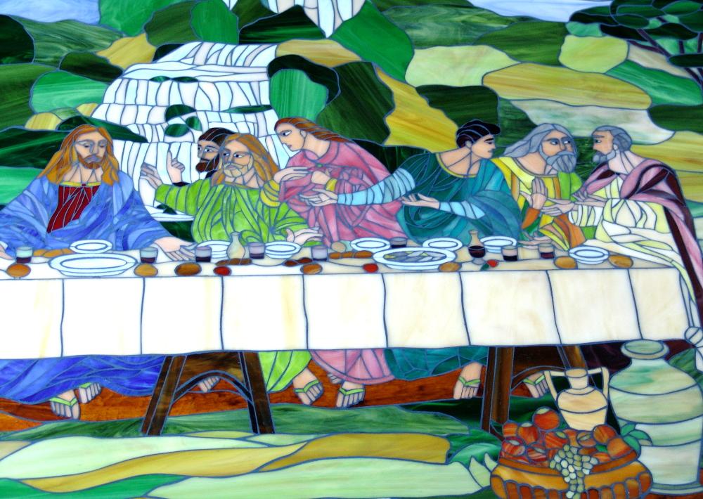 quadro-ultima cena- mosaico-vetrata