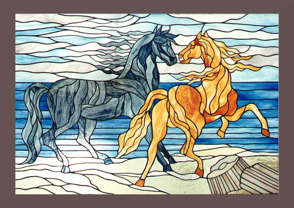 cavalli-quadro-pannello-mosaico-vetrata