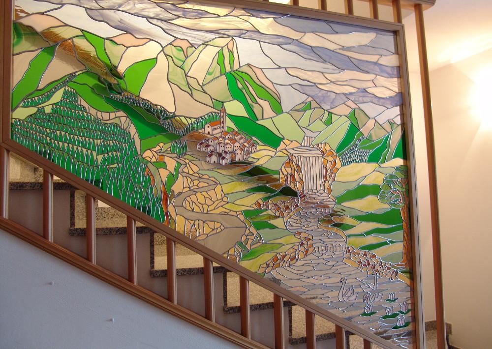 Vetrata Scala Mosaico