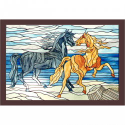 Pannello vetrata raffigurante cavalli