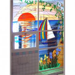 """Pannello vetrata """" vela al tramonto """""""